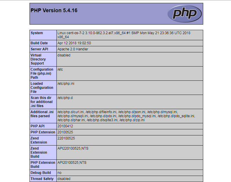 PHP Info Page